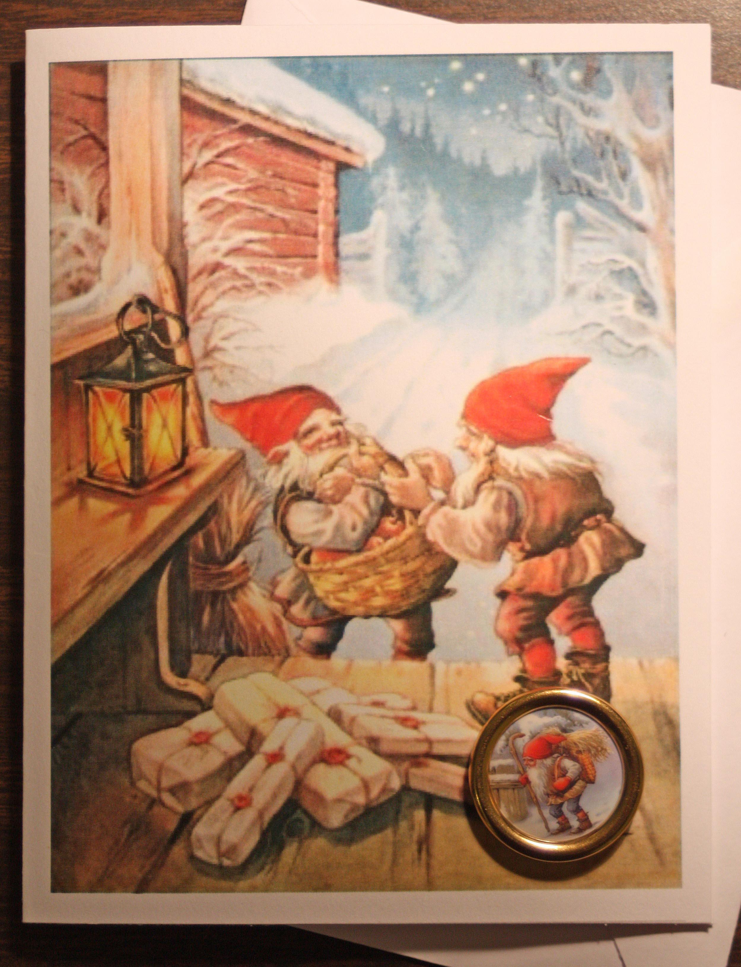 Scandinavian Nisse Christmas Card with on on yule lads, ded moroz, father christmas, santa claus, christmas elf, la befana, yule goat, christmas mountains,
