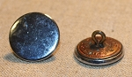 Coat Button, Polished Nickel plated, stamped brass, Antique,  36L