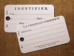 Soldiers Identification Card, U.S. Christian Commission, Two Cards.