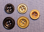 Suspender Buttons, Stippled, Antique