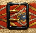 Cravat Buckle, Blued Steel & Brass, 3/4