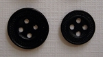 Black Enameled  Stippled Buttons, New Made