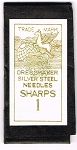 Needle Packet. Dressmaker Sharps.  Size 1 to 5.
