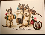 Musical Cats Birthday Card with Button