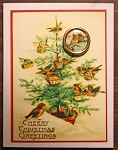 Birds Christmas Card with Button