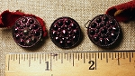 Pewter buttons, Maroon color, set of 3, 3/4