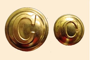 "Confederate Cavalry Button, Brass or Pewter. Block ""C"""