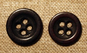 Bone Buttons, Stained, 1850's, Antique