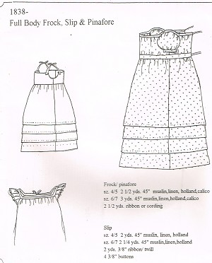 1838 Full Body Frock, Slip & Pinafore