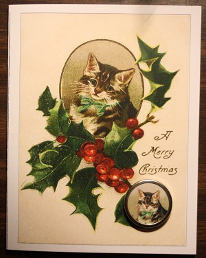 Cat and Holly Christmas Card with Button