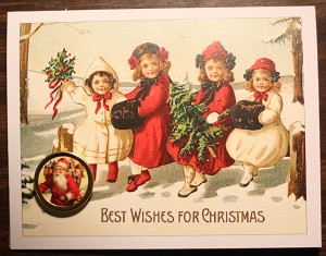 Victorian Children Christmas Card with Button
