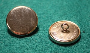 Coat Button, Nickel Plated Plain Front by Waterbury