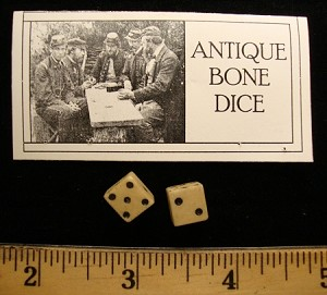 Antique Bone or China  Dice / Pair