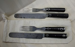 Flatware, Wooden handle, Antique, 3 or 4 tine sets