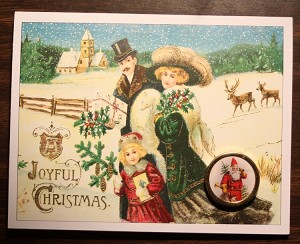 Victorian Family Christmas Card with Button