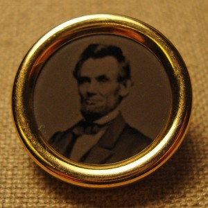 Lincoln Real Ferrotype Button, Reproduction.