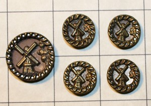 Windmill Button Set, Antique.