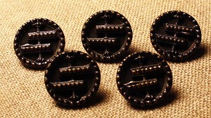 Japanned Brass buttons, set of 5, 5/8""