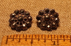 Filigree and cut steel buttons, Pair
