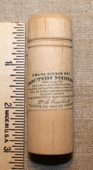 Dr. Morse Indian Root Pill, Wooden Container. Original
